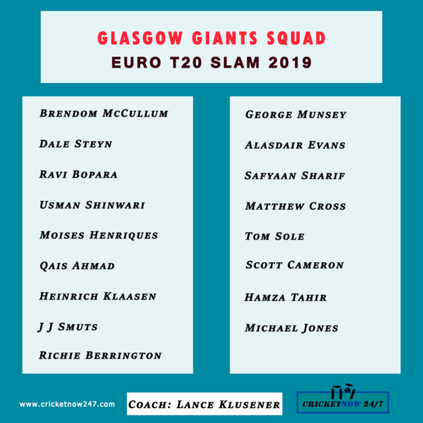 Glasgow Giants Squad Euro T20 slam 2019