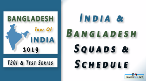 Bangladesh Tour of India 2019 T20I and Test Squads Schedule 2