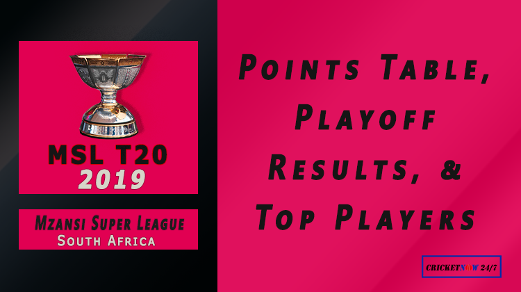 2019 Mzansi Super League points table playoff results top performers