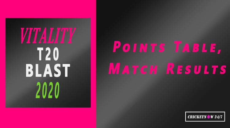 Vitality T20 Blast 2020 Points Table Match Results 2